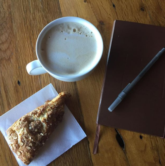 latte scone and journal