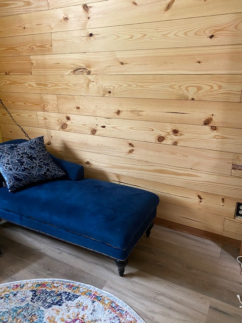 shiplap wall and blue lounge
